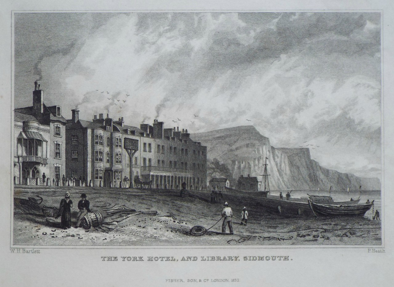 Print - The York Hotel, and Library, Sidmouth. - Heath