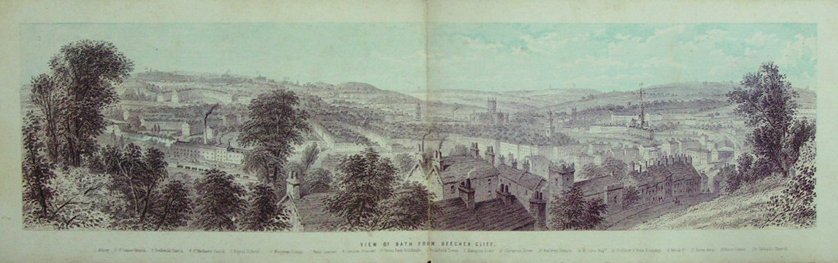 Chromo-lithograph - View of Bath from Beechen Cliff - T