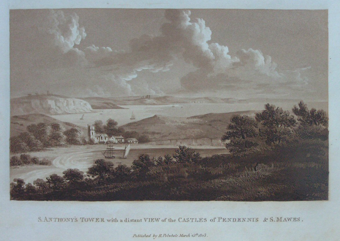 Aquatint - St. Anthony's Tower with a distant View of the Castles of Pendennis & St. Mawes