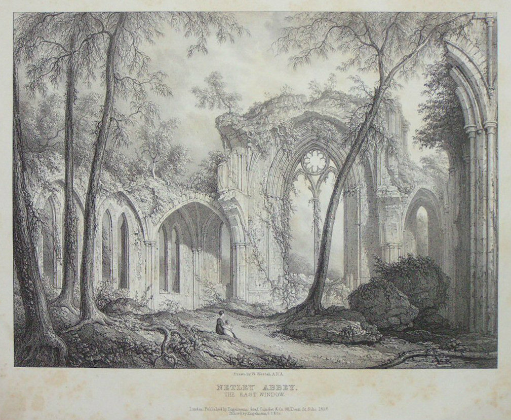 Lithograph - Netley Abbey. The East Window. -