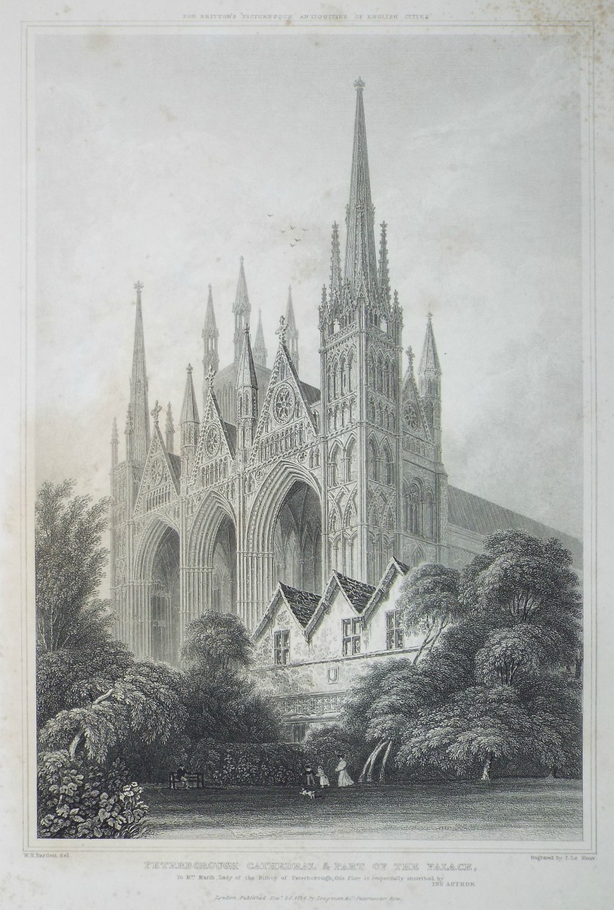Print - Peterborough Cathedral & part of the Palace. - Le