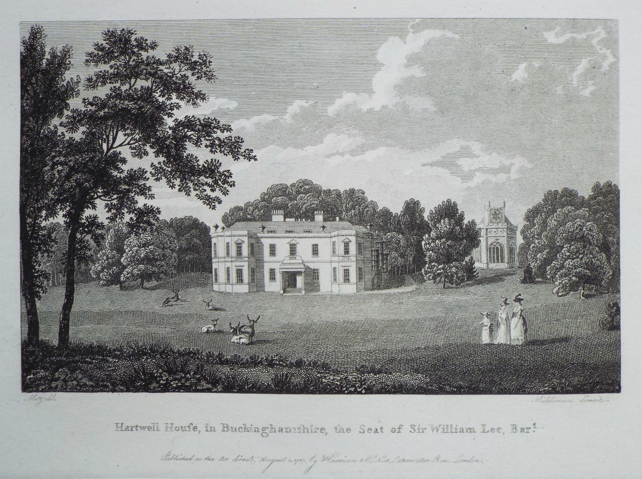 Print - Hartwell House, in Buckinghamshire, the Seat of Sir William Lee, Bart. -