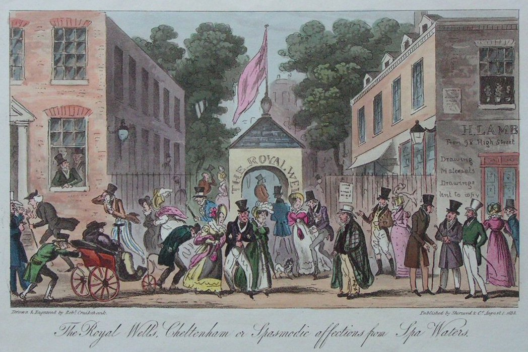 Aquatint - The Royal Wells, Cheltenham or Spasmodic Affections from Spa Waters.  - Cruikshank