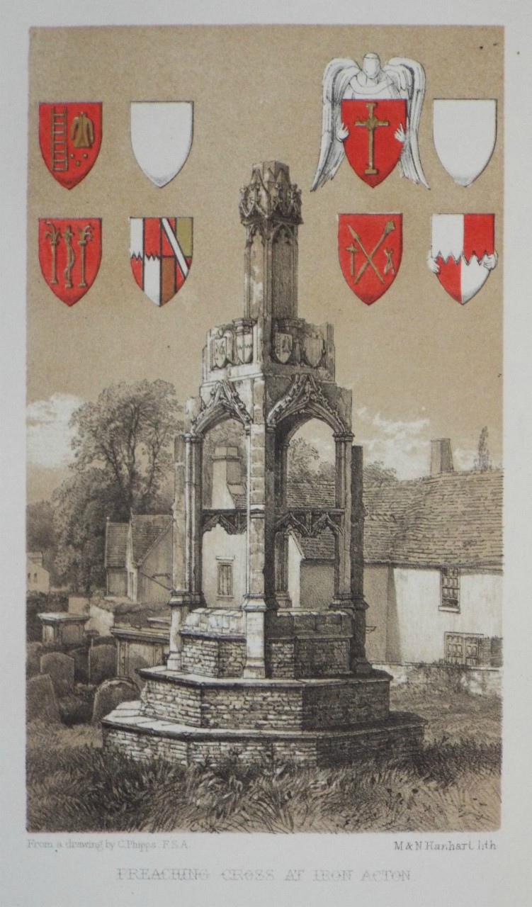 Lithograph - Preaching Cross at Iron Acton. - Hanhart