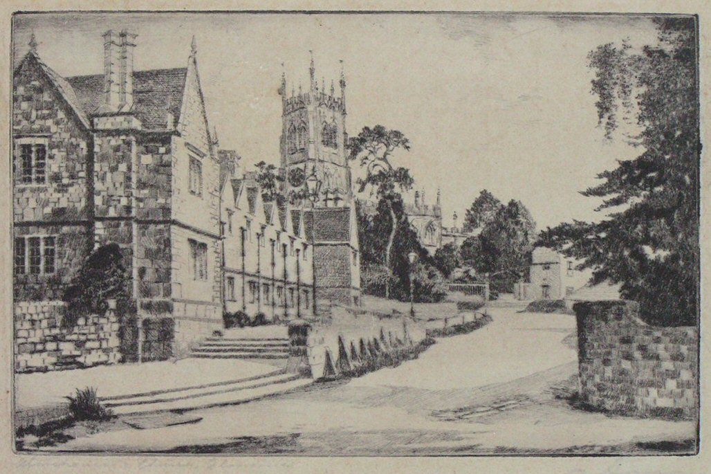 Etching - Almshouses, Church