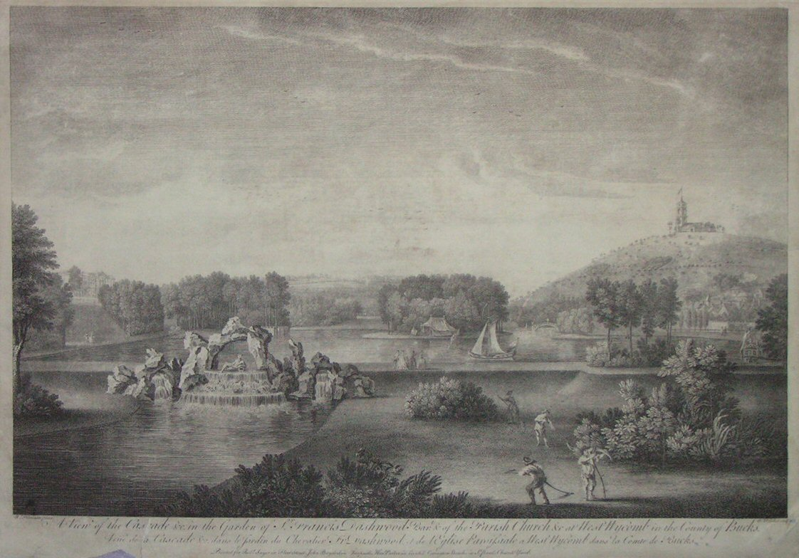 Print - A View of the Cascade &c in the Garden of Sir Francis Dashwood Bart., of the Parish Church &c at West Wycomb in the County of Bucks - Woollett