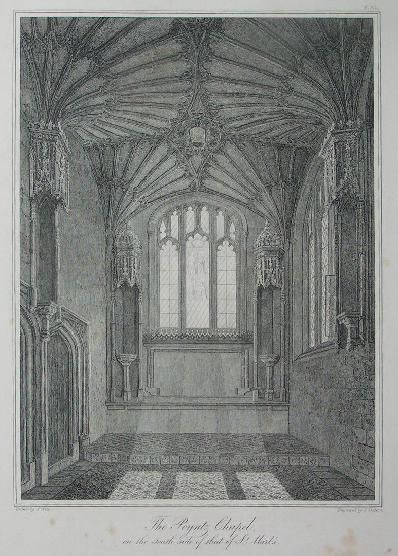 Etching - The Poyntz Chapel, on the South side of that of St. Mark's. - Skelton