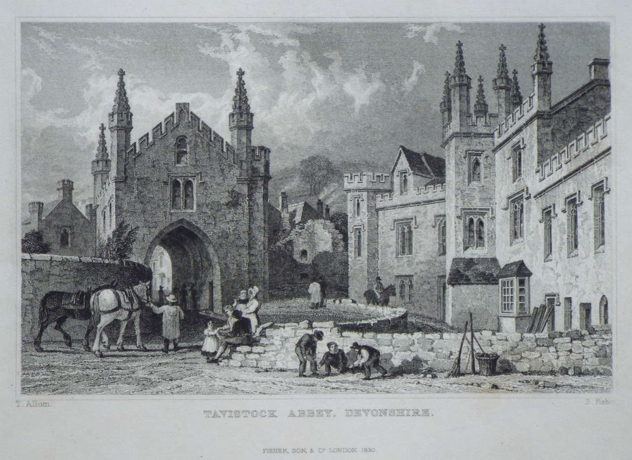 Print - Tavistock Abbey, Devonshire. - Fisher