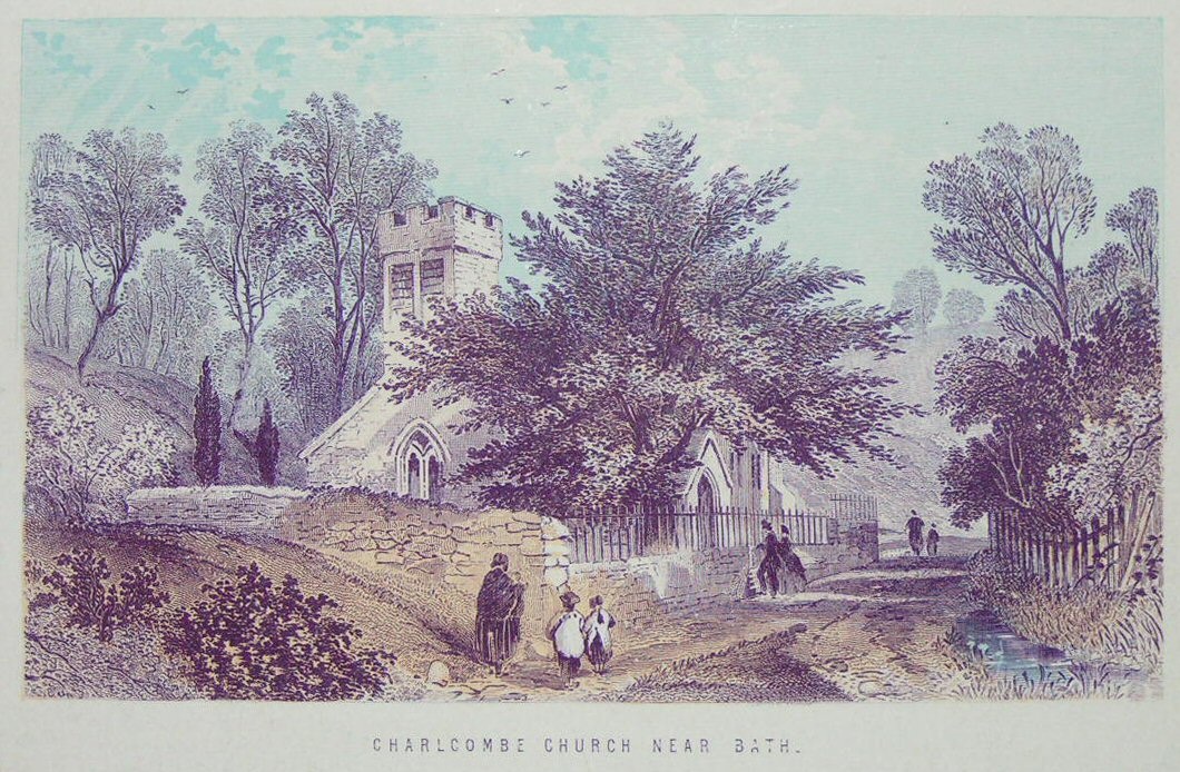 Chromo-lithograph - Charlcombe Church Near Bath. - T