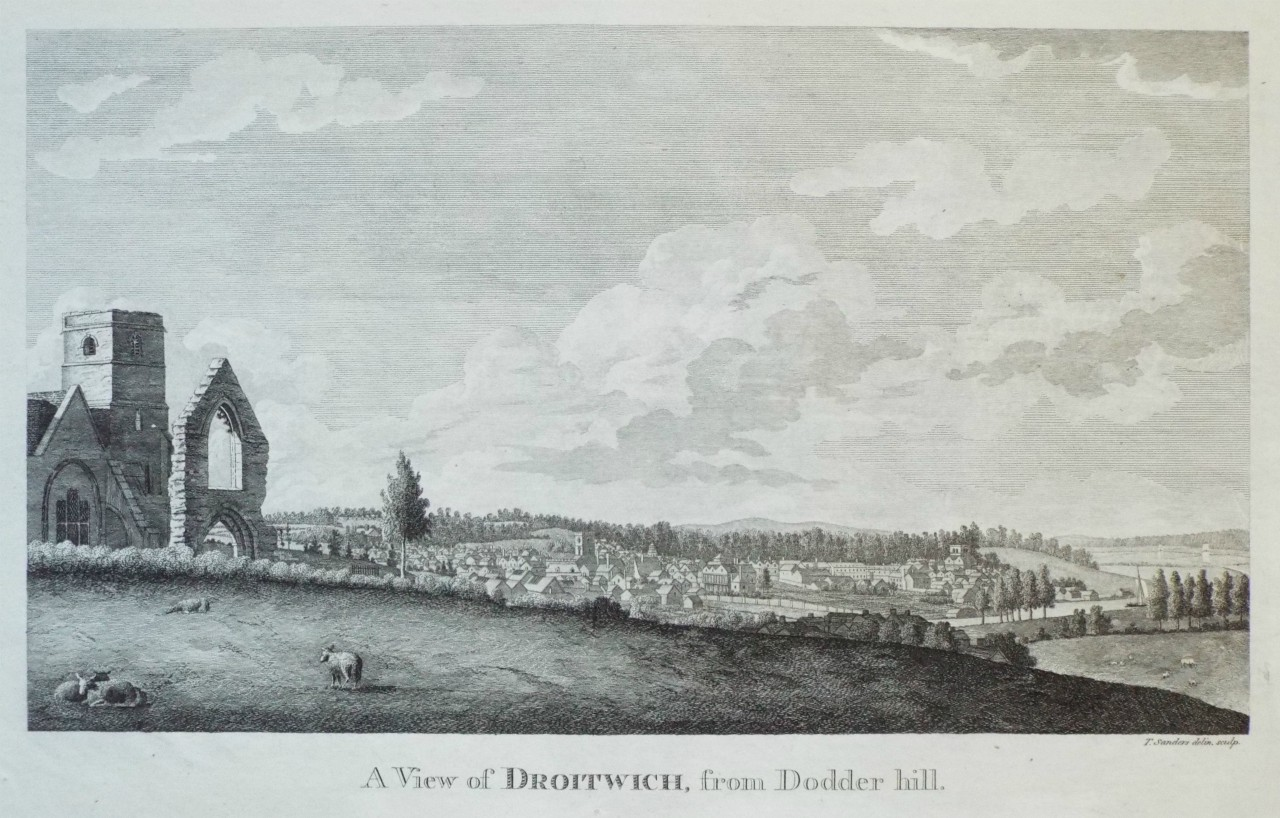 Print - A View of Droitwich, from Dodder Hill. - Sanders