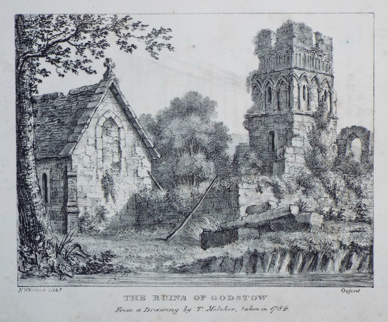 Lithograph - The Ruins of Godstow From a Drawing by T. Melcher, taken in 1784. - Whittock