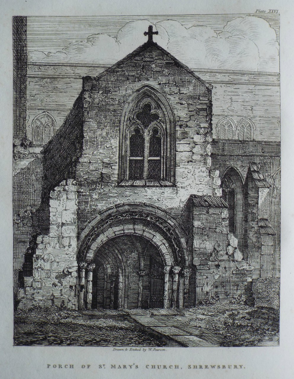 Etching - Porch of St. Mary's Church, Shrewsbury. - Pearson