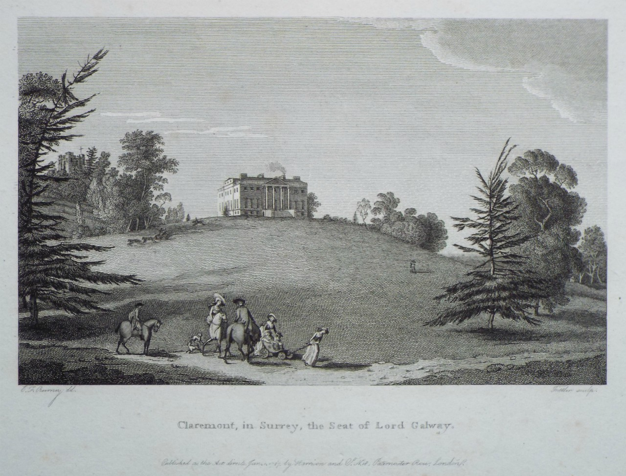 Print - Claremont, in Surrey, the Seat of Lord Galway. -