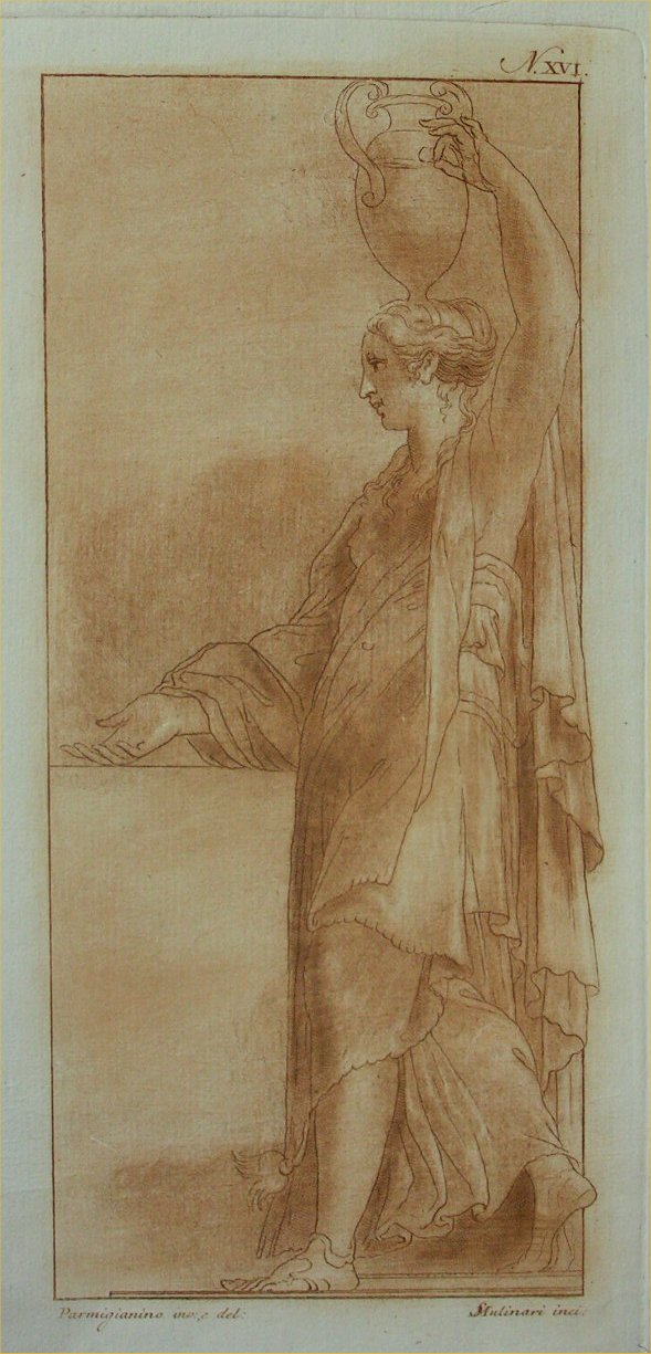 Aquatint - (Woman carrying amphora on her head) - Mulinari
