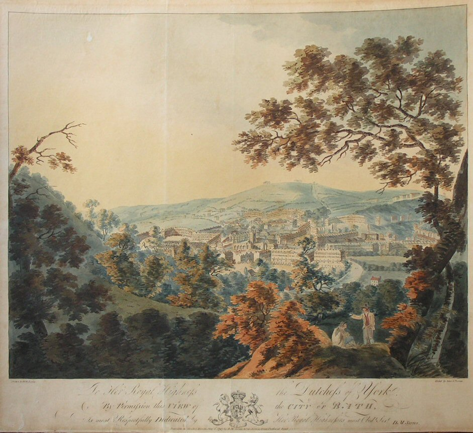 Etching - To Her Highness the Duchess of York, By Permission this View of the City of Bath is Most Respectfully Dedicated by Her Royal Highness's most Obedt. Servt. D.M.Serres. - Serres