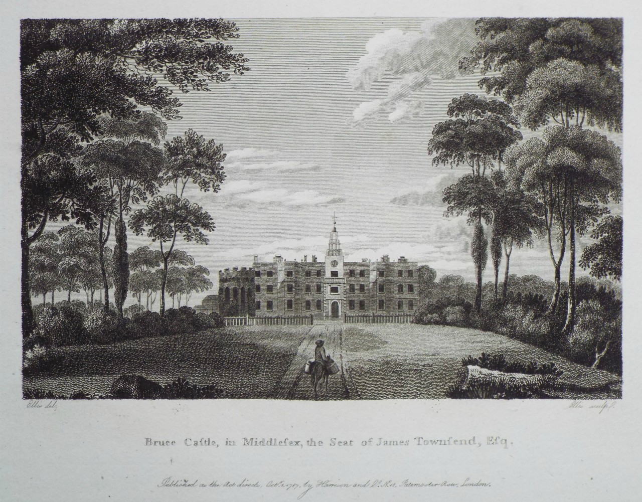 Print - Bruce Castle, in Middlesex, the Seat of James Townsend, Esqr. -