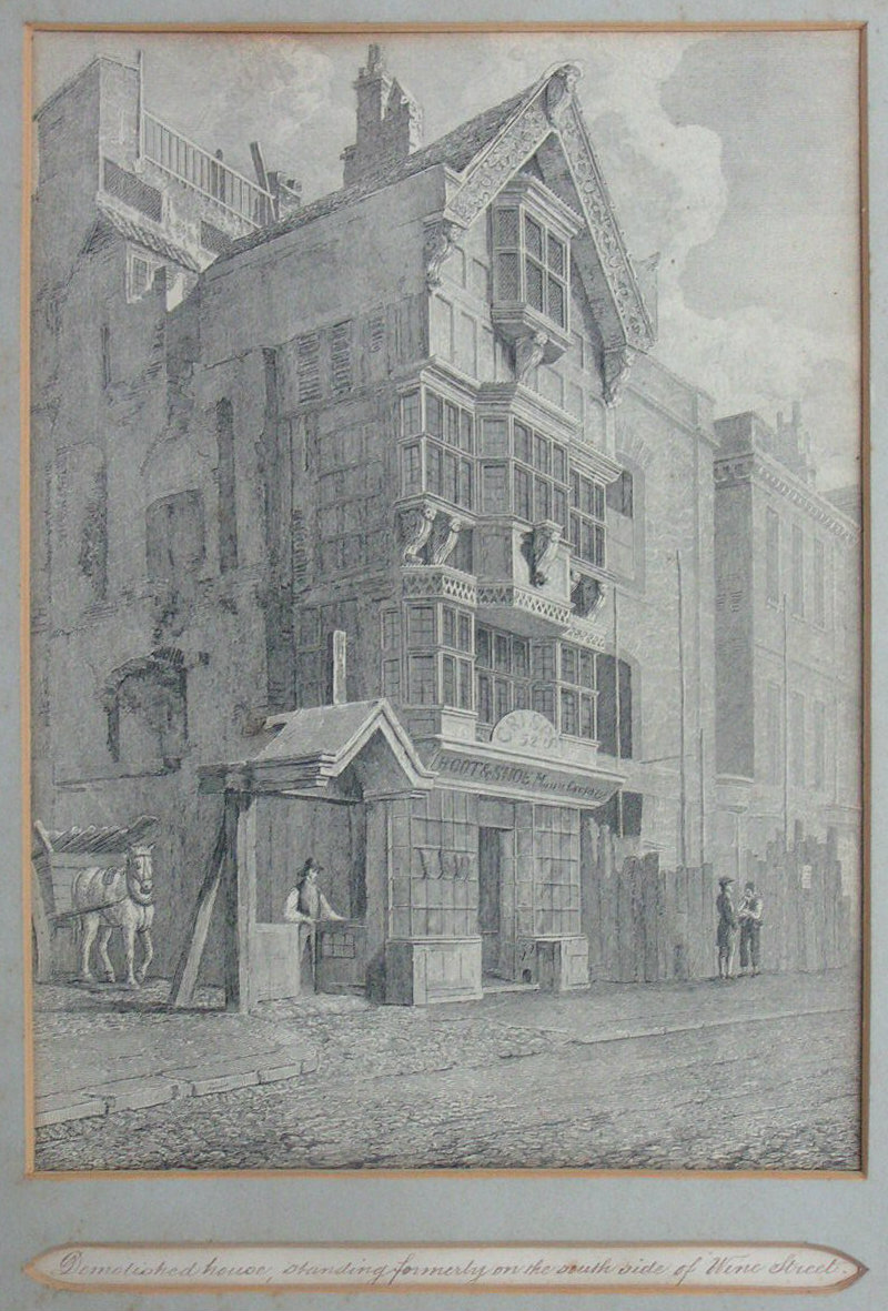Etching - Demolished house, standing formerly on the south side of Wine Street - Skelton