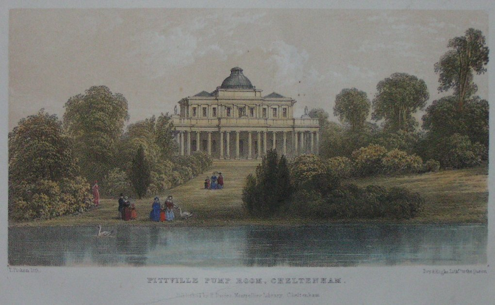 Lithograph - Pittville Pump Room, Cheltenham - Picken