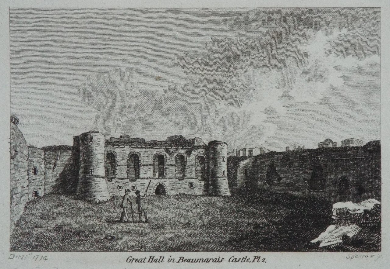 Print - Great Hall in Beaumaris Castle, Pl 2. -