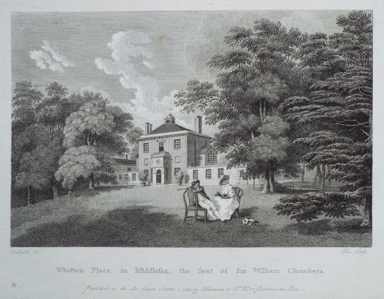 Print - Whitton Place, in Middlesex, the Seat of Sir William Chambers. -