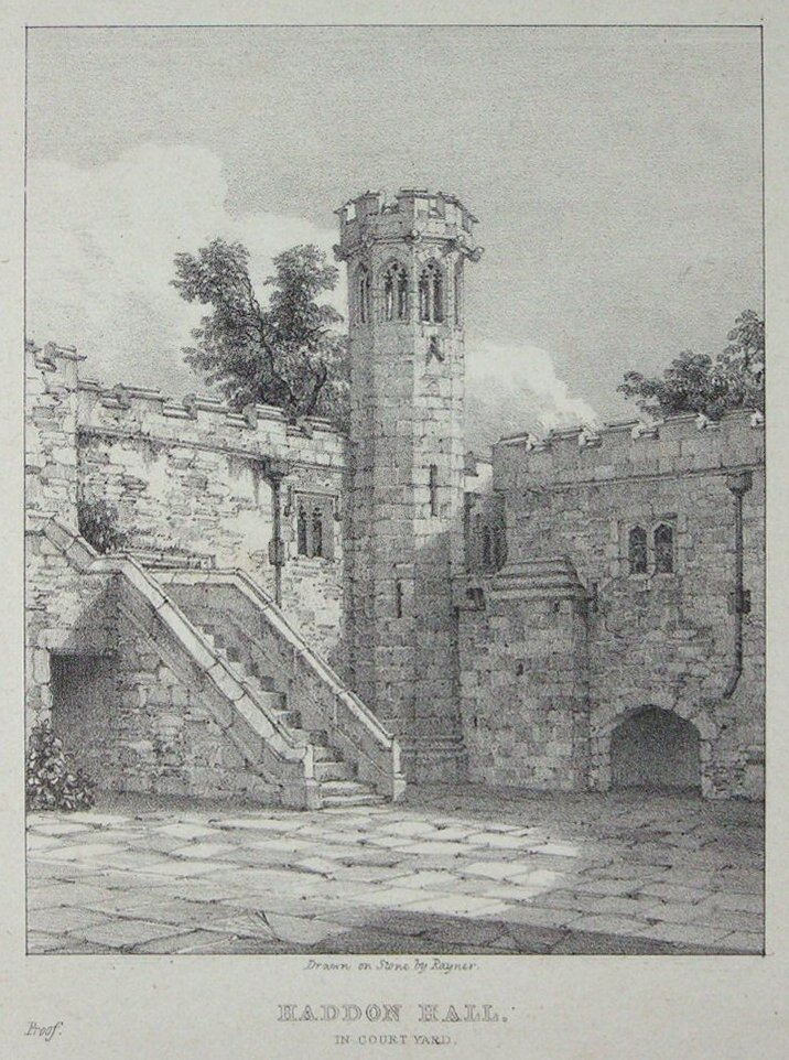 Lithograph - Haddon Hall In Court Yard -