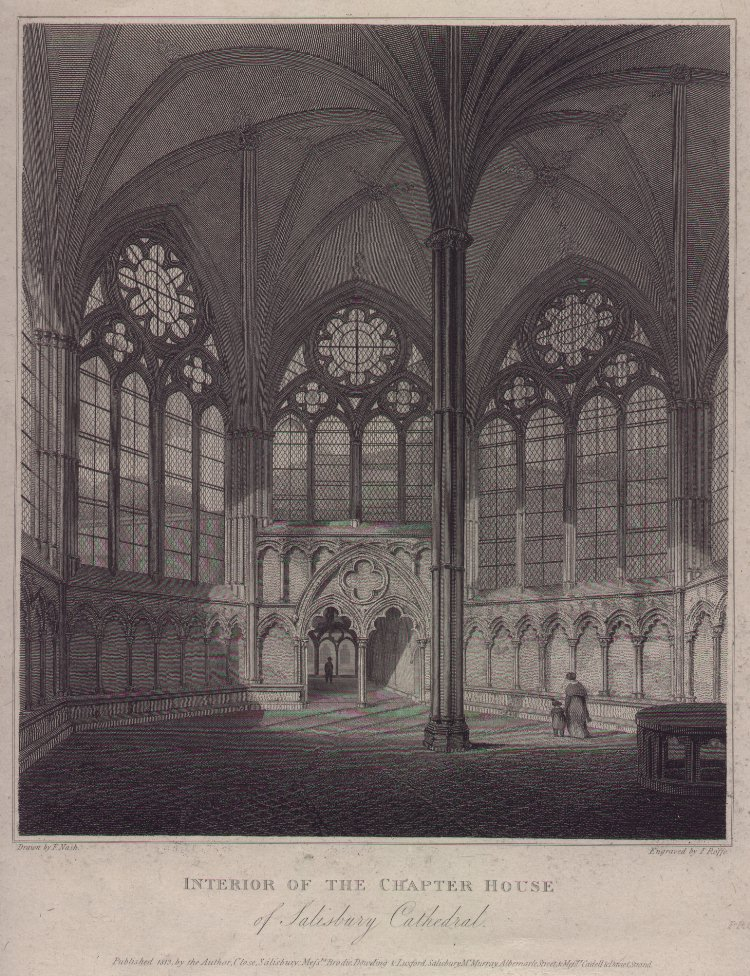 Print - Interior of the Chapter House of Salisbury Cathedral - Roffe