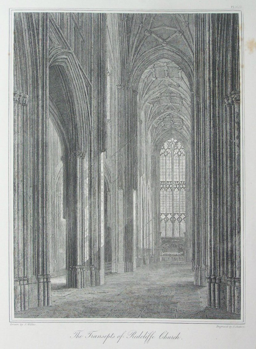Etching - The Transcepts of Redcliffe Church. - Skelton