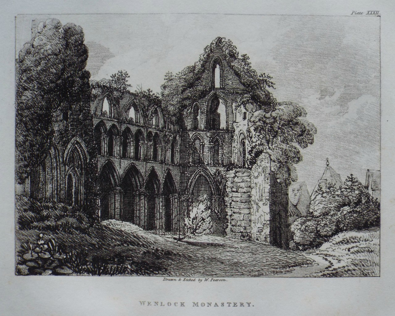 Etching - Wenlock Monastery. - Pearson
