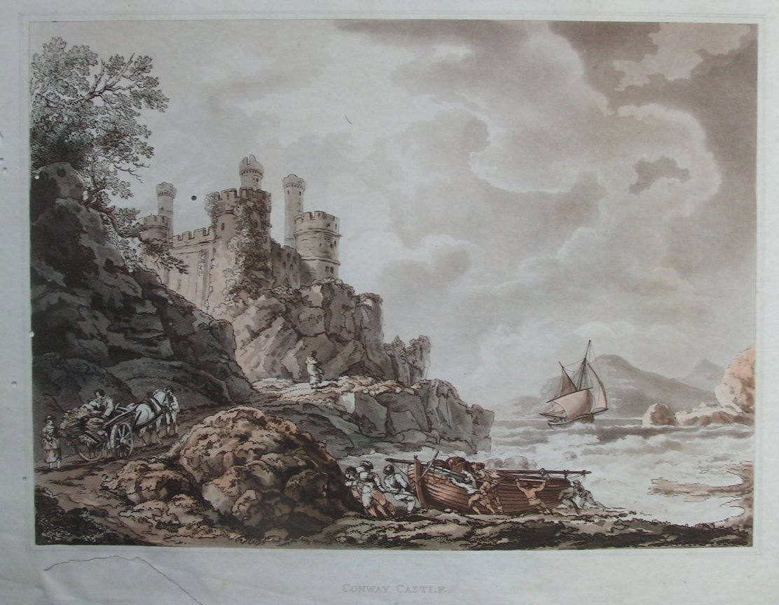 Aquatint - Conway Castle - Picket