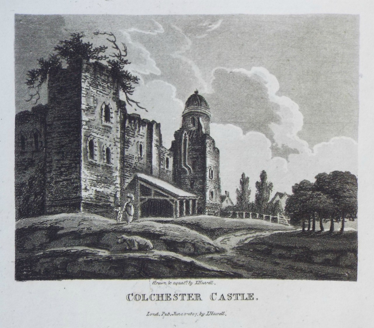 Aquatint - Colchester Castle. - Hassell