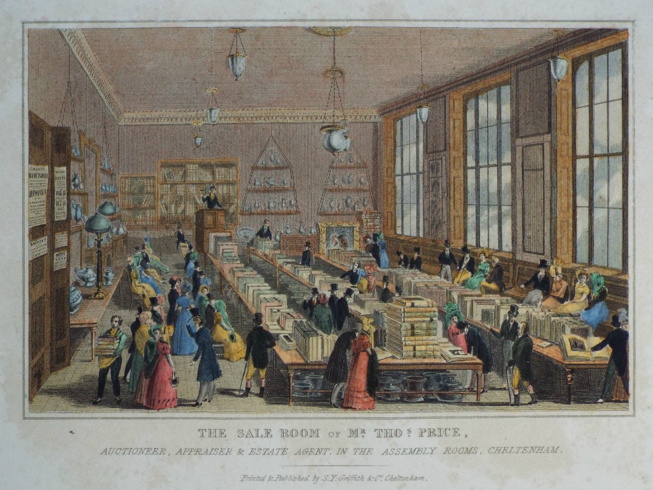 Print - The Sale Room of Mr. Thos. Price, Auctioneer, Appraiser & Estate Agent, in the Assembly Rooms, Cheltenham.
