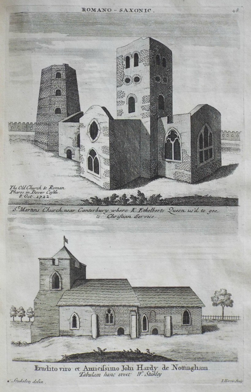 Print - Romano - Saxonic.  The Old Church & Roman Paros in Dover Castle. 8. Oct. 1722. St. Martins Church, near Canterbury where K. Ethelberts Queen us'd to goe to Christian Service. - Harris
