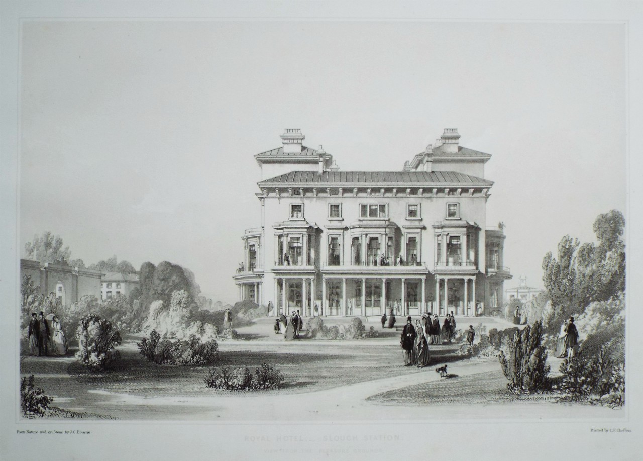 Lithograph - Royal Hotel, - Slough Station. View from the Pleasure Grounds. - Bourne