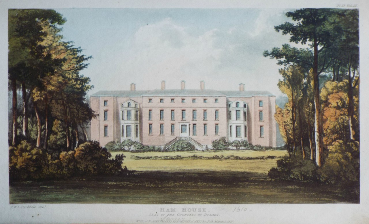 Aquatint - Ham House, Seat of the Countess Dysart.