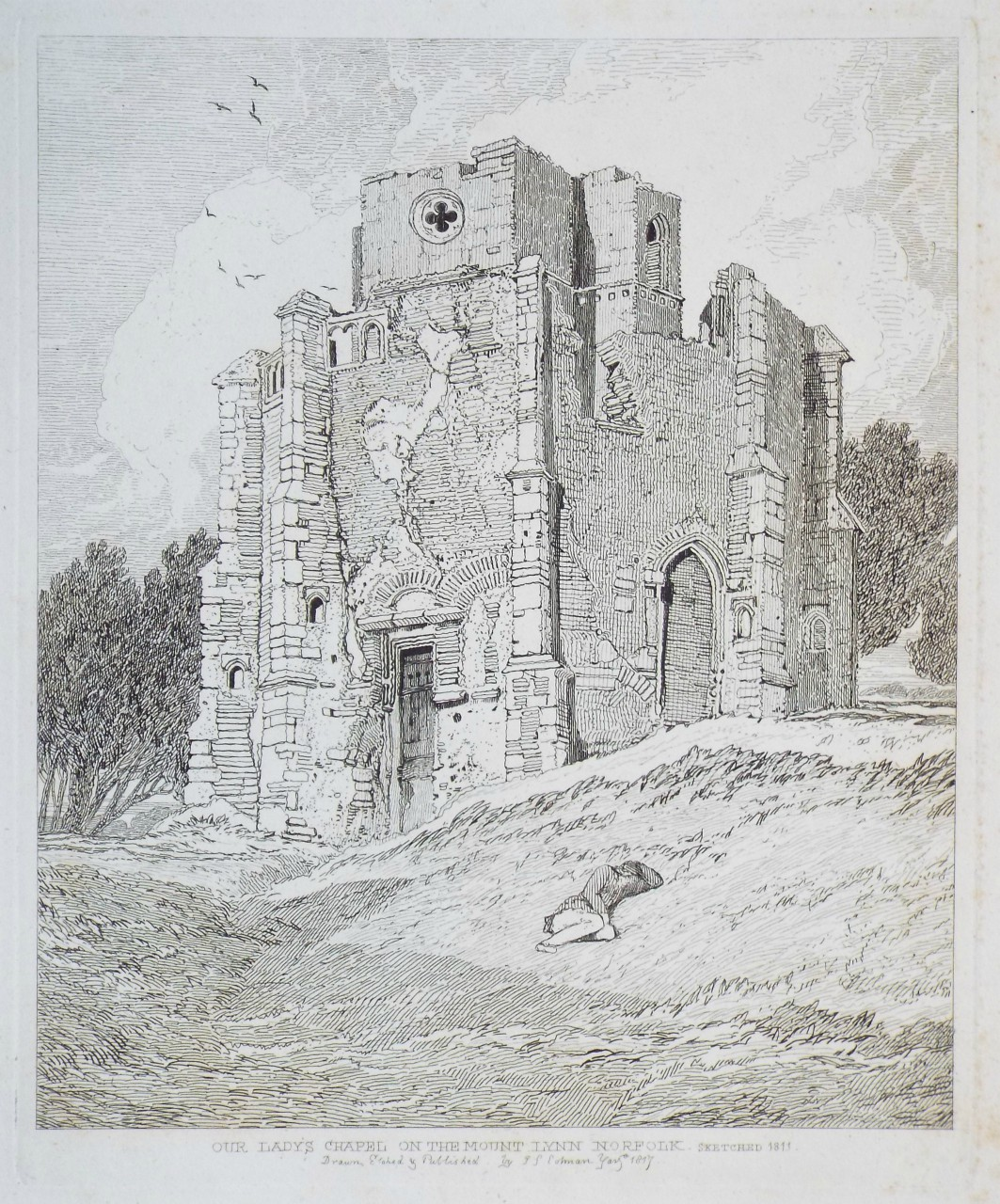 Etching - The Lady's Chapel on the Mount Lynn Norfolk Sketched 1811 - Cotman
