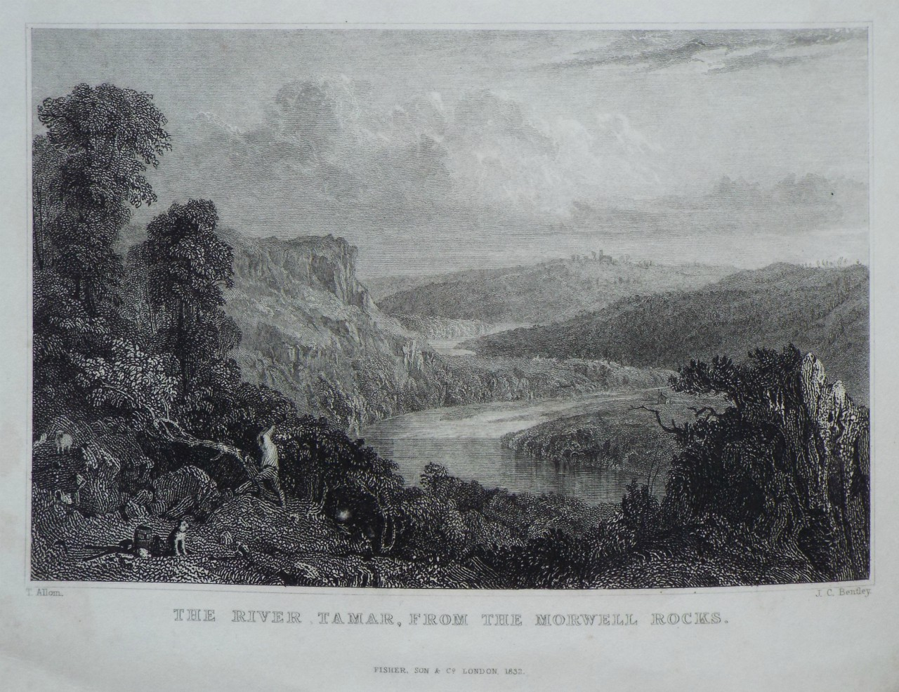 Print - The River Tamar, from the Morwell Rocks. - Bentley