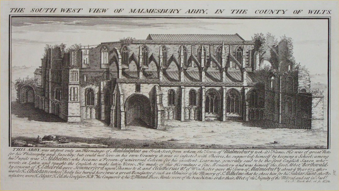 Print - The South View of Malmesbury Abby, in the County of Wilts. - Buck