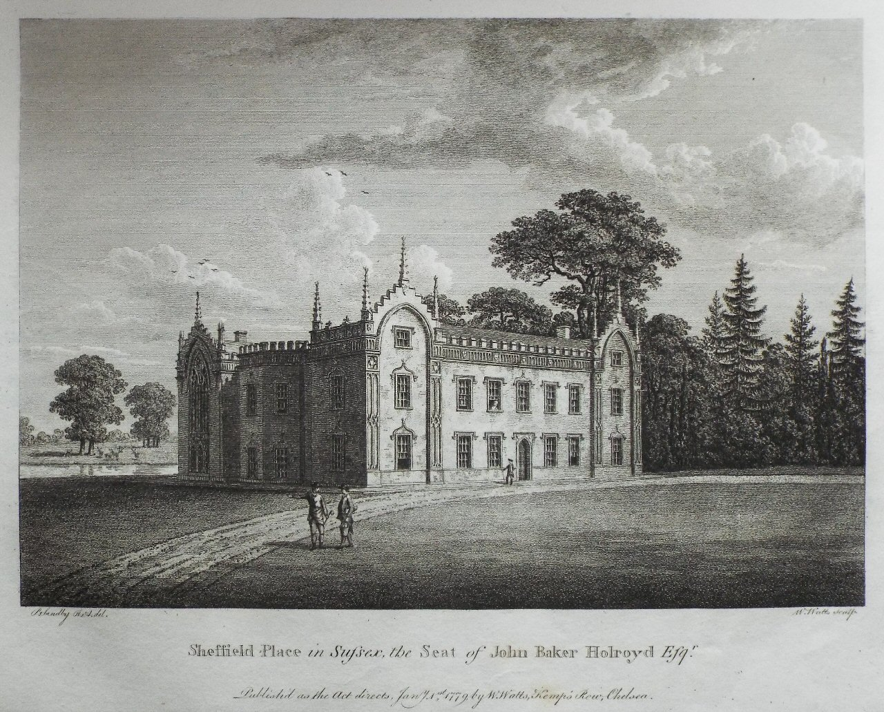 Print - Sheffield Place in Sussex, the Seat of John Baker Holroyd Esqr  - Watts