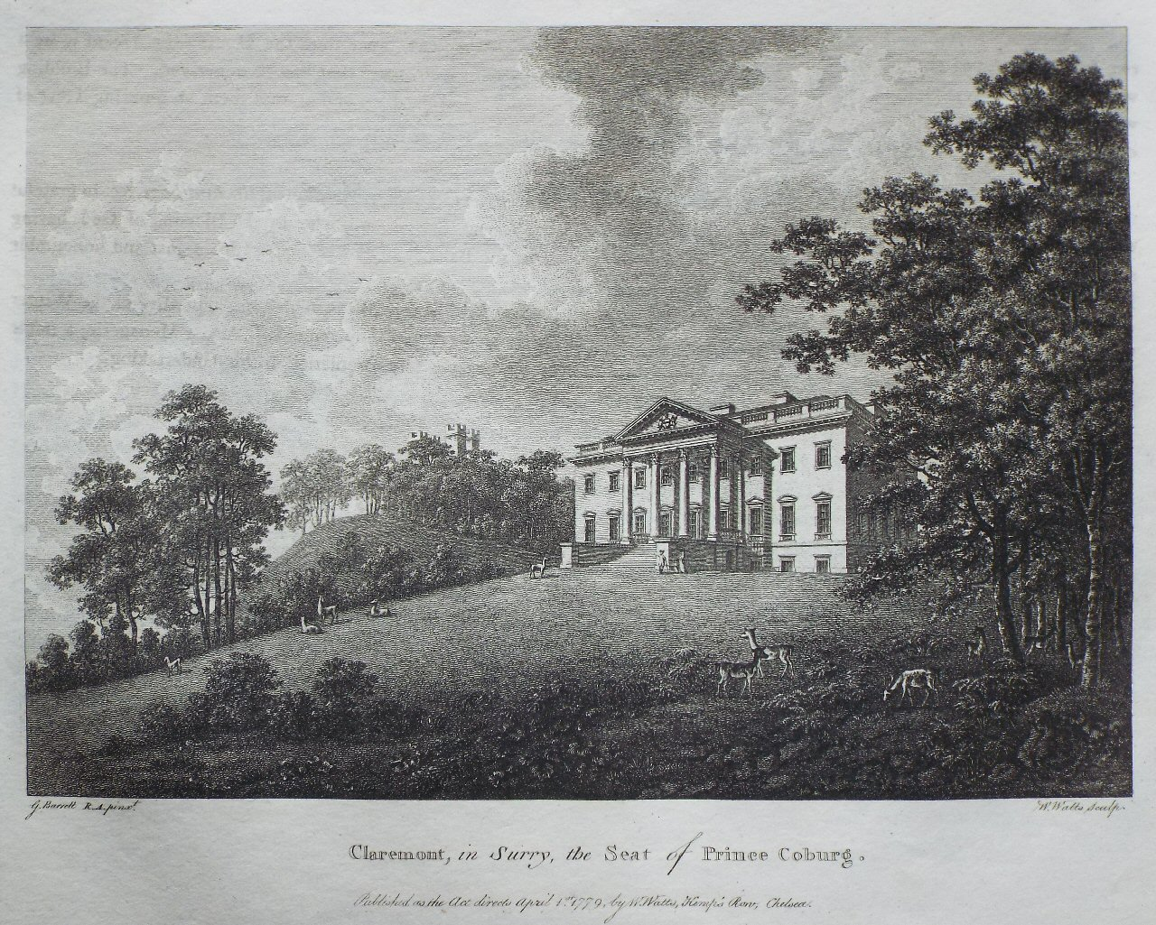 Print - Claremont, in Surry, the Seat of Prince Coburg - Watts