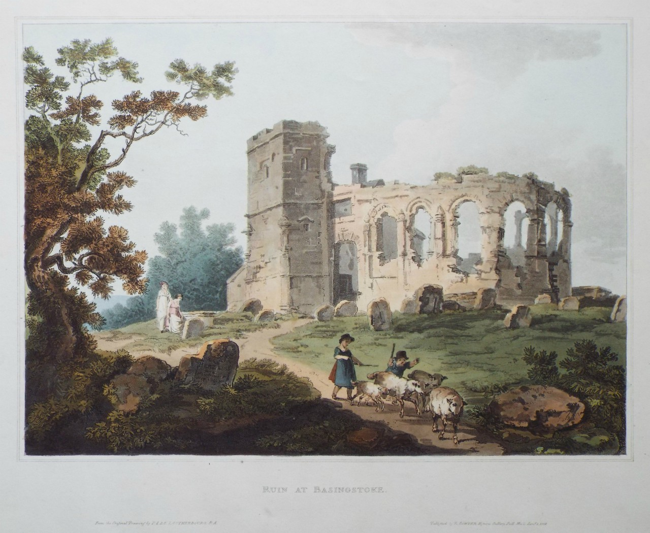 Aquatint - Ruin at Basingstoke. - Pickett