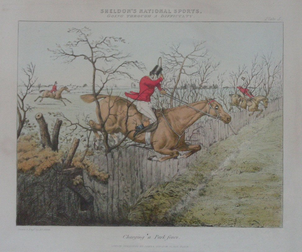 Lithograph - Going Over a Difficulty. Pl.5 Charging a Park Fence - Alken