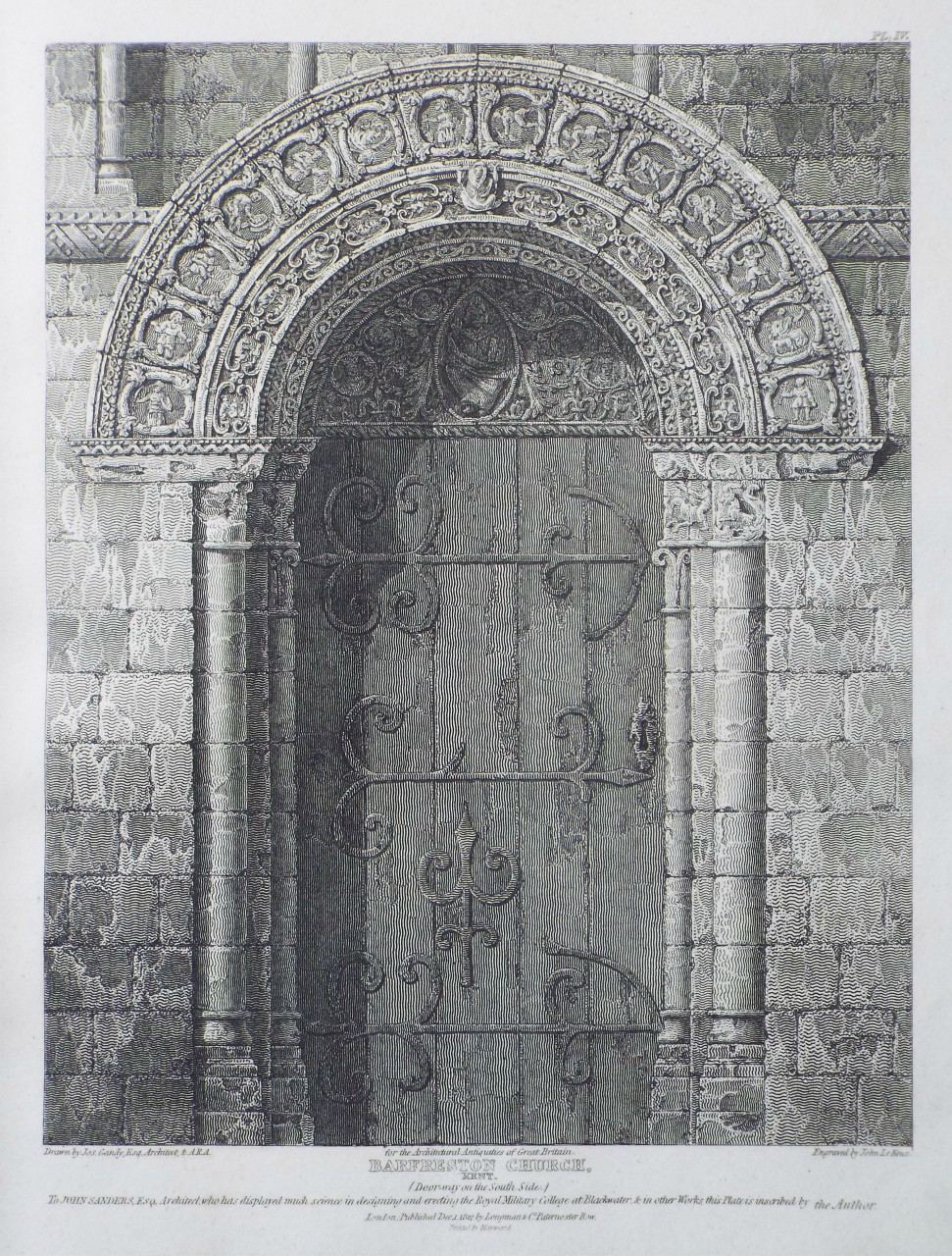 Print - Barfreston Church, Kent. (Door-way on the South Side.) - Le