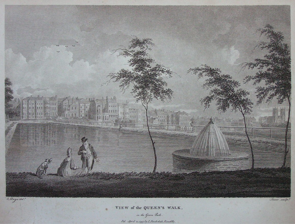 Print - View of the Queen's Walk, in the Green Park. - Storer