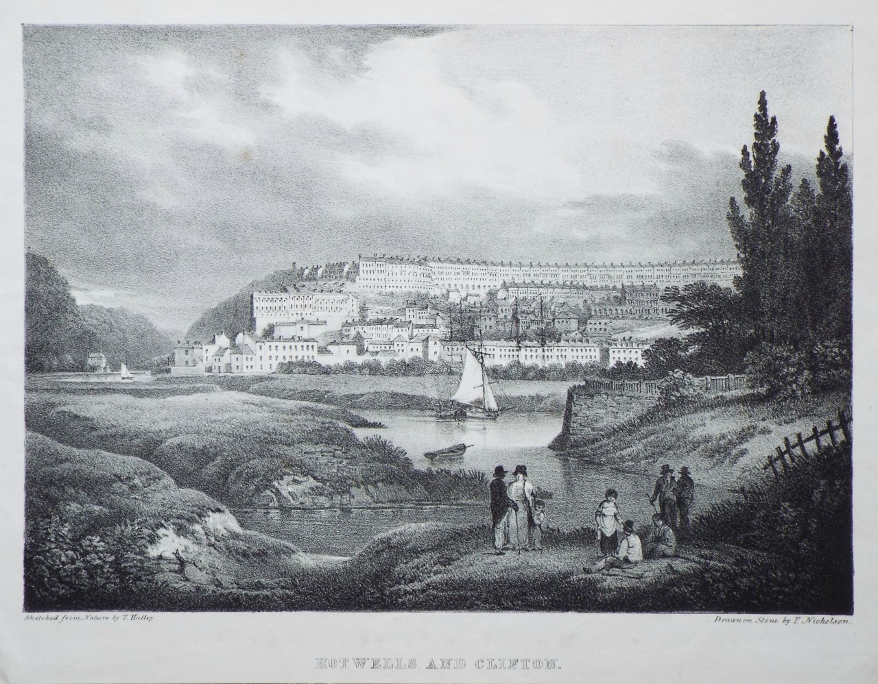 Lithograph - Hotwells and Clifton. - Nicholson