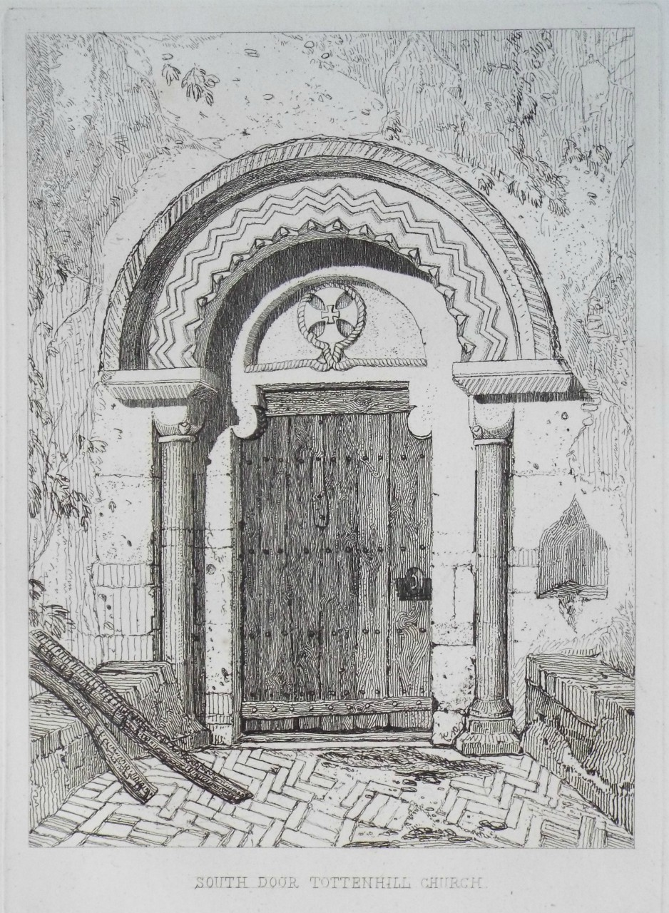 Etching - South Door Tottenhill Church. - Cotman