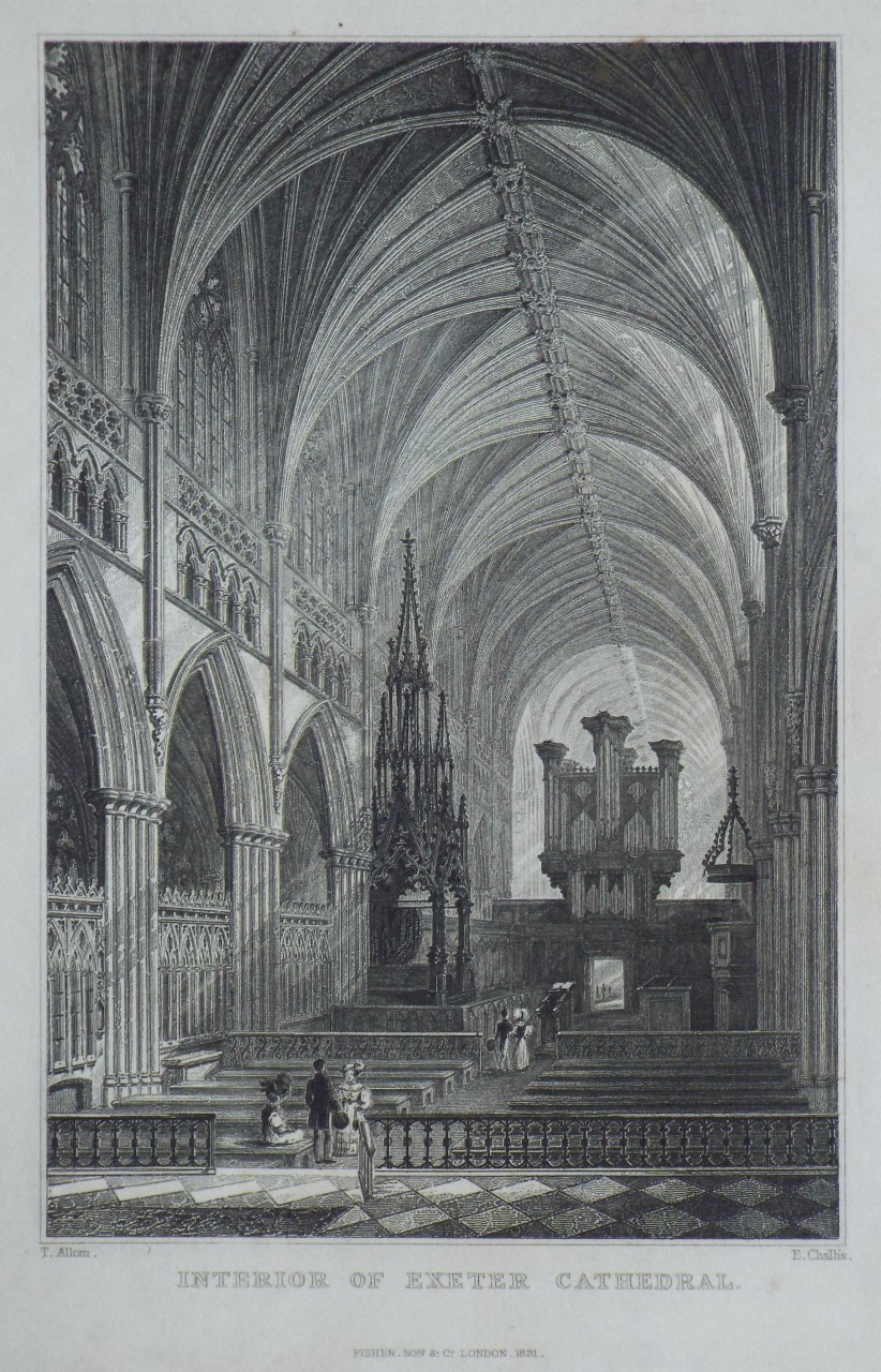 Print - Interior of Exeter Cathedral. - Challis
