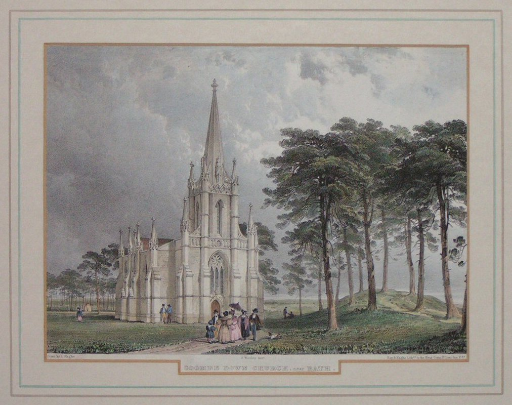 Lithograph - Coombe Down Church, near Bath - Haghe