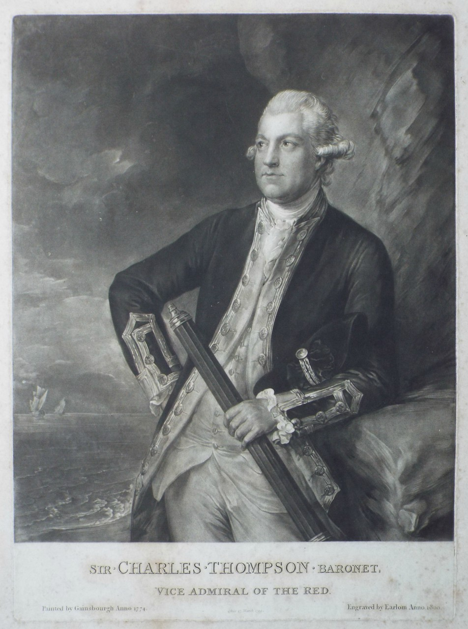 Mezzotint - Sir Charles Thompson Baronet Vice Admiral of the Red Obiit 17 March 1799 -
