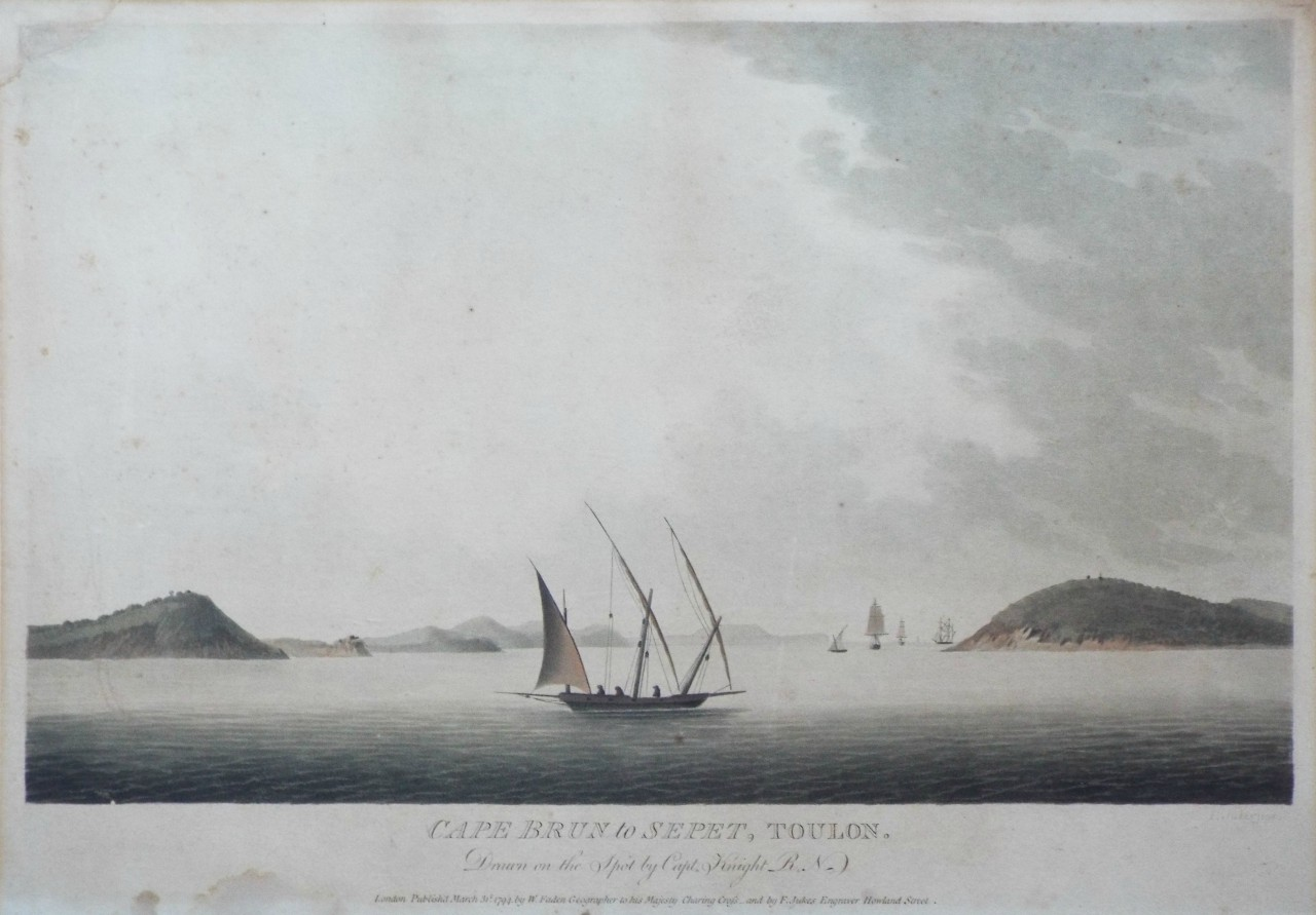 Aquatint - Cape Brun to Sepet, Toulon. Drawn on the Spot by Capt. Knight R.N. - Jukes