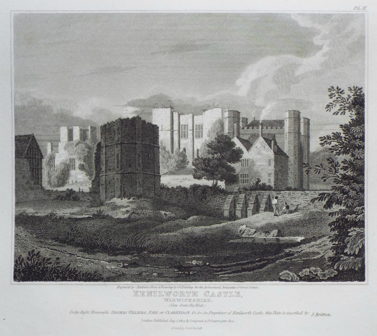 Print - Kenilworth Castle, Warwickshire. (View from the West.) -